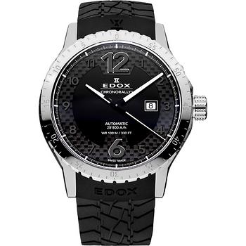 EDOX Chrororally 1碳纖維大三針機械腕錶-黑 E80094.3.NN