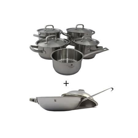驚喜合購【WMF】 Gourmet Plus系列五件式鍋具組+【WMF】 Chef's系列單把炒鍋附蓋直徑28公分