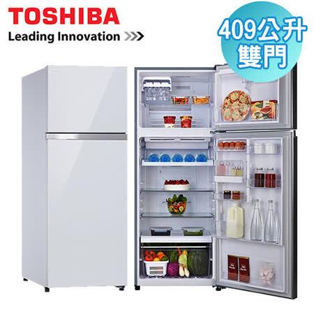 TOSHIBA東芝 409L雙門變頻玻璃鏡面冰箱(GR-TG46TDZ)含安裝+送3M清潔劑+AiLeiYi 天然潤膚沐浴精+高級汽車遮陽簾
