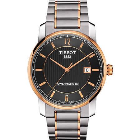 TISSOT T-Classic Powermatic 80【鈦】機械腕錶-黑 T0874075506700