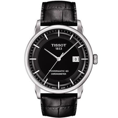 TISSOT T-Classic Luxury 天文台認證機械腕錶-黑 T0864081605100