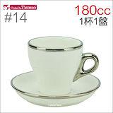 Tiamo 14號鬱金香卡布杯盤組(白金) 180cc (白) HG0843W