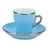 Tiamo 19號鬱金香拿鐵杯盤組(白金) 280cc (粉藍) HG0845BB