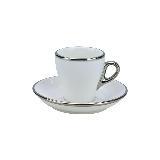 Tiamo 19號鬱金香拿鐵杯盤組(白金) 280cc (白) HG0845W