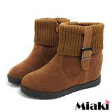 (現貨+預購)【Miaki】日雜強打毛線拼接內增高短靴雪靴 (棕色)