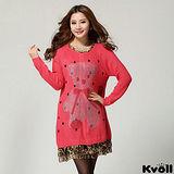 【KVOLL大尺碼】玫紅色點點燙鑽小熊連衣裙