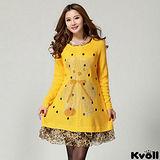 【KVOLL大尺碼】黃色點點燙鑽小熊連衣裙