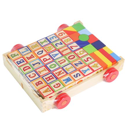 【funKids】木製-美國熱賣字母/數字/動物圖案拖拉方塊積木車
