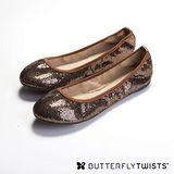 BUTTERFLY TWISTS -SAMANTHA 可折疊扭轉芭蕾舞鞋-閃亮銅
