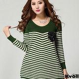 【KVOLL大尺碼】綠色經典條紋針織衫