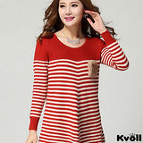 【KVOLL大尺碼】紅色經典條紋針織衫