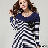 【KVOLL大尺碼】藍色經典條紋針織衫