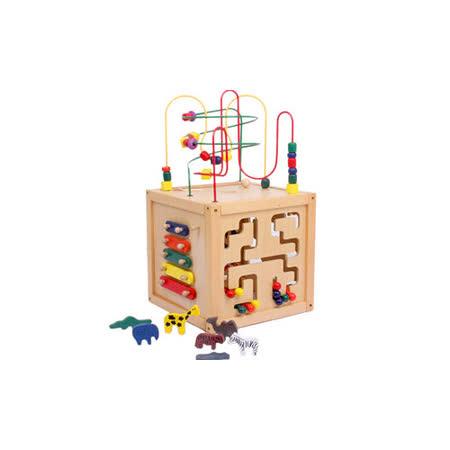 【funKids】木製-日本五合一原木動物益智百寶箱