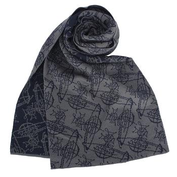 Vivienne Westwood 新款雙色滿版草寫星球圖樣圍巾-深藍/灰