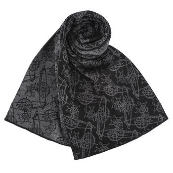 Vivienne Westwood 新款雙色滿版草寫星球圖樣圍巾-淺灰/黑