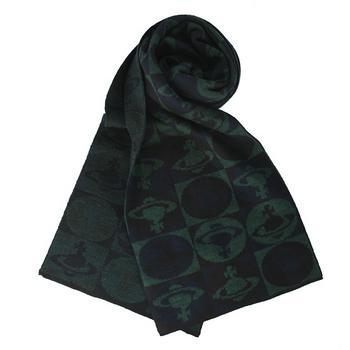 Vivienne Westwood 新款滿版格子星球圖樣圍巾-深綠色