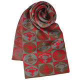 Vivienne Westwood 新款滿版格子星球圖樣圍巾-咖啡紅