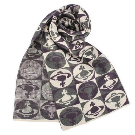 Vivienne Westwood 新款滿版格子星球圖樣圍巾-灰白色