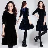 【麗質達人中大碼】3586絨布修身洋裝(二色)