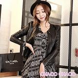 預購【CHACO韓國】LOVEMARSH搶眼單釦圓領雙拉鍊造型修身長袖皮衣外套(黑色M/L/XL)