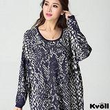 【KVOLL大尺碼】藍色雪花寬鬆蝙蝠袖針織衫