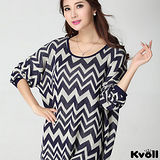 【KVOLL大尺碼】藍色波浪紋寬鬆蝙蝠袖針織衫