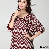【KVOLL大尺碼】紅色波浪紋寬鬆蝙蝠袖針織衫
