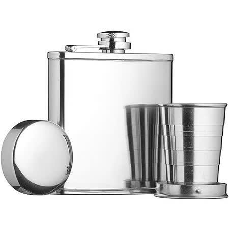 《KitchenCraft》隨行酒瓶+摺疊杯(165ml)