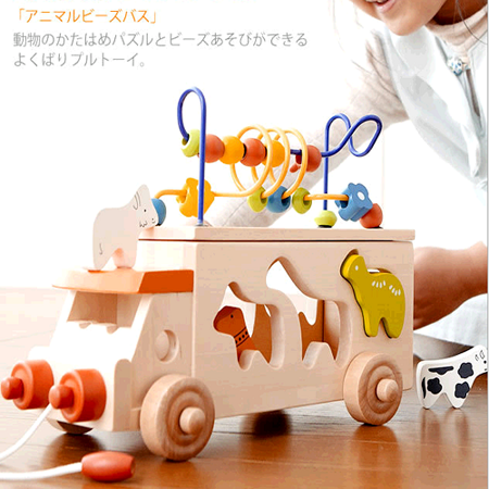 【funKids】日本Ed.lnter-木製動物配對繞珠拖拉三合一寶寶拖車