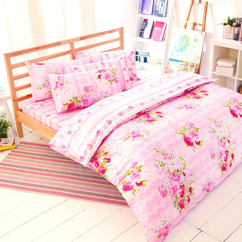 FOCA~花房故事~雙人100^%精梳棉四件式舖棉兩用被床包組