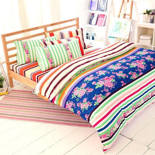 FOCA~年華似景~雙人100^%精梳棉四件式舖棉兩用被床包組