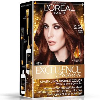 巴黎萊雅優媚霜時尚魅力-護髮染髮霜-5.54濃烈暖赤褐色