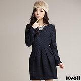 【KVOLL大尺碼】藏藍色點點百摺毛呢連衣裙