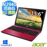 Acer E5-511G-C8VR 15.6吋 N2940四核心 2G獨顯 Win8.1效能筆電 (紅)