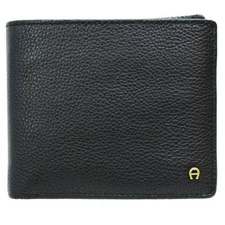 AIGNER 男用荔枝紋8卡零錢短夾-黑色