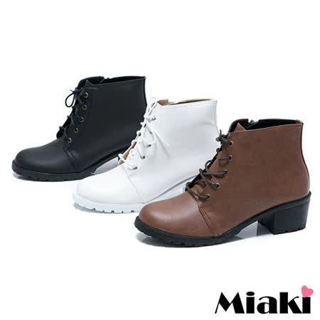 【Miaki】MIT 英倫學院綁帶低跟短靴踝靴牛津鞋 (咖啡 / 黑色)