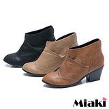 (現貨+預購)【Miaki】MIT 韓版復刻中跟皮質短靴踝靴牛津鞋 (可可/棕色/黑色)
