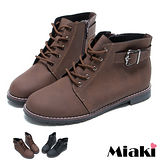 (現貨+預購)【Miaki】MIT 都會暢銷單扣拉鍊平底短靴踝靴休閒鞋 (咖啡/黑色)