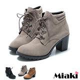 (現貨+預購)【Miaki】MIT 暢銷韓版圓頭中跟綁帶短靴踝靴牛津鞋 (可可/梨色/黑色)