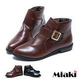 (現貨+預購)【Miaki】個性嚴選低跟牛津鞋皮鞋踝靴 (棕色/黑色)