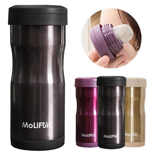 【兌】MoliFun魔力坊 不鏽鋼雙層高真空附專利濾網保溫杯瓶350ml-尊爵灰