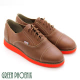【GREEN PHOENIX 波兒德】BIS-VITAL英倫風情復刻綁帶厚底牛津鞋-藍色、棕色