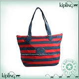 【Kipling】BASIC系列 水餃兩用肩背托特包 藍紅線條 K-374-2275-013