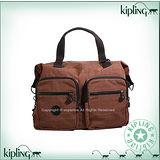 【Kipling】BASIC系列 雙口袋造型肩背兩用旅行袋 神木棕 K-374-2390-746