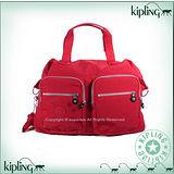 【Kipling】BASIC系列 雙口袋造型肩背兩用旅行袋 番茄紅 K-374-2390-153