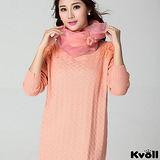 【KVOLL大尺碼】粉色縷空緹花袖針織長上衣