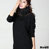 【KVOLL大尺碼】黑色縷空緹花袖針織長上衣