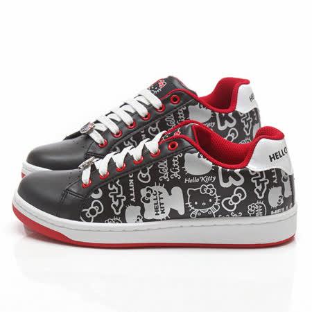 童鞋城堡-Hello Kitty女款 塗鴉風休閒鞋914112-黑