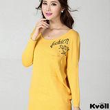 【KVOLL大尺碼】黃色字母印花蝙蝠袖針織衫