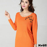 【KVOLL大尺碼】橘紅色字母印花蝙蝠袖針織衫